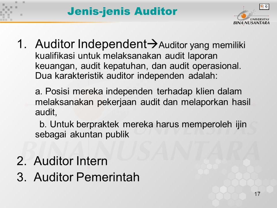 17 Jenis-jenis Auditor 1.Auditor Independent  Auditor yang memiliki kualifikasi untuk melaksanakan audit laporan keuangan, audit kepatuhan, dan audit
