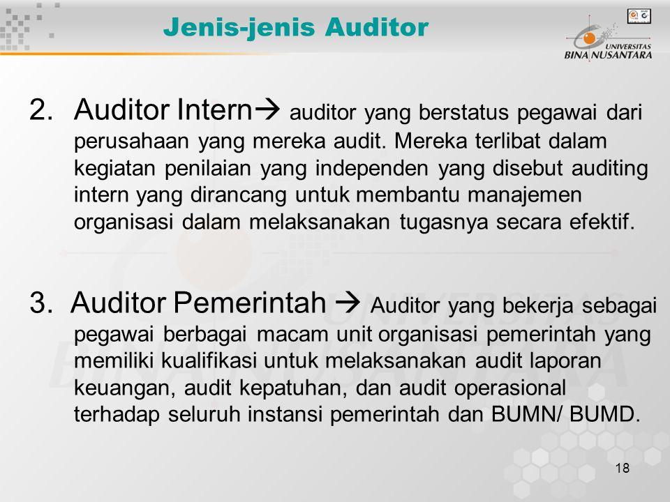 18 Jenis-jenis Auditor 2.Auditor Intern  auditor yang berstatus pegawai dari perusahaan yang mereka audit. Mereka terlibat dalam kegiatan penilaian y