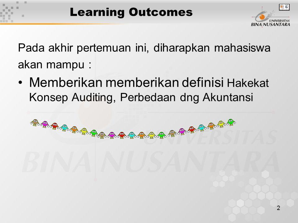 2 Learning Outcomes Pada akhir pertemuan ini, diharapkan mahasiswa akan mampu : Memberikan memberikan definisi Hakekat Konsep Auditing, Perbedaan dng