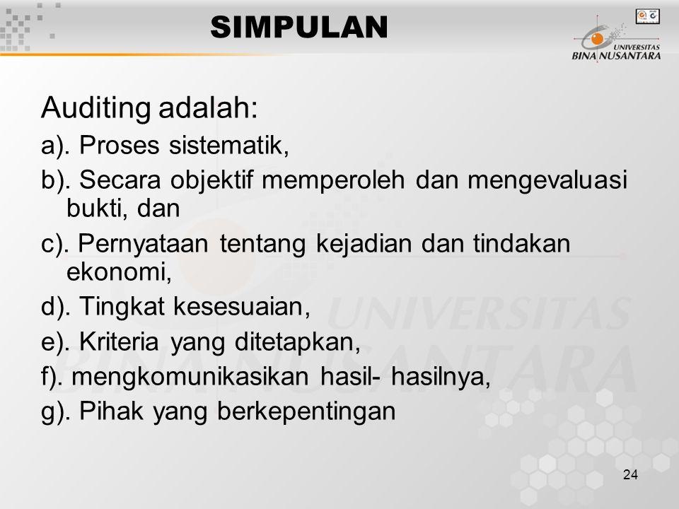 24 SIMPULAN Auditing adalah: a). Proses sistematik, b). Secara objektif memperoleh dan mengevaluasi bukti, dan c). Pernyataan tentang kejadian dan tin