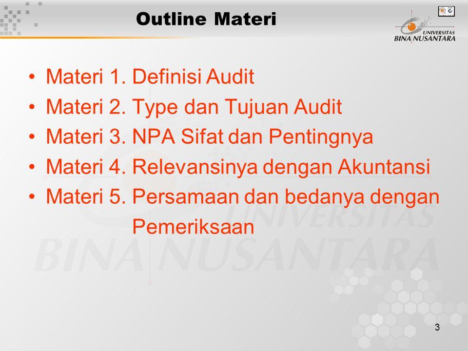 3 Outline Materi Materi 1. Definisi Audit Materi 2. Type dan Tujuan Audit Materi 3. NPA Sifat dan Pentingnya Materi 4. Relevansinya dengan Akuntansi M