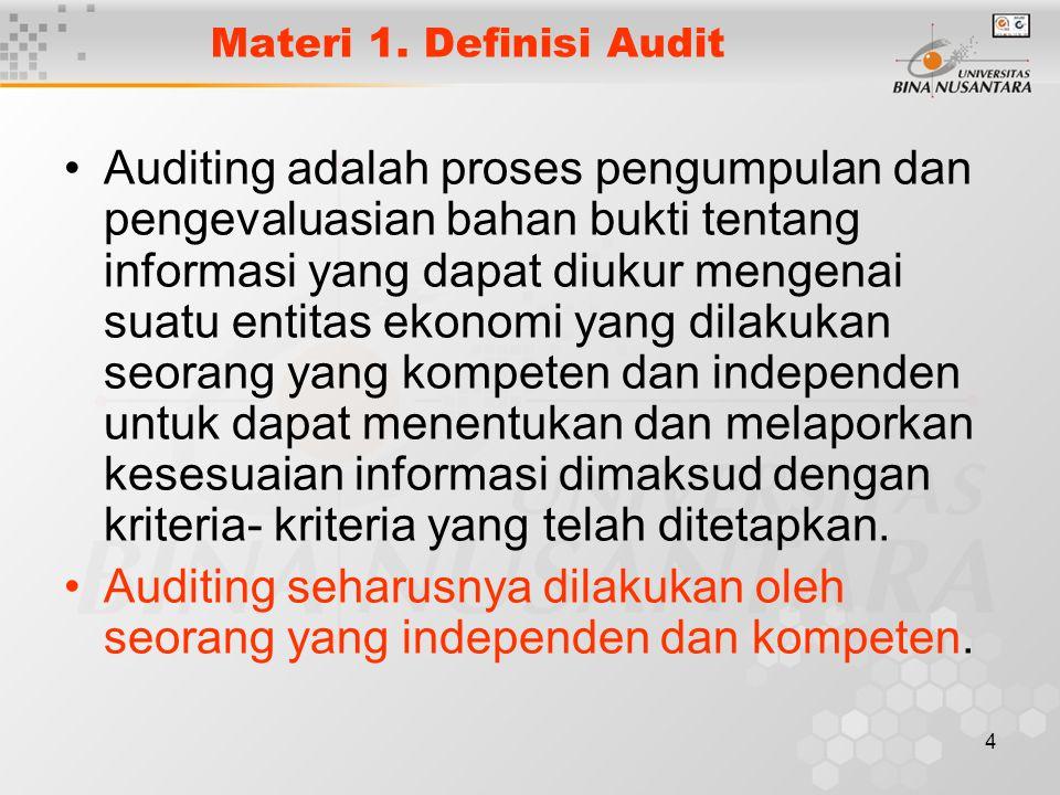 4 Materi 1. Definisi Audit Auditing adalah proses pengumpulan dan pengevaluasian bahan bukti tentang informasi yang dapat diukur mengenai suatu entita