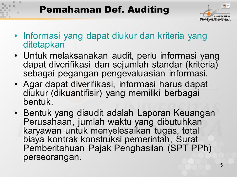 5 Pemahaman Def. Auditing Informasi yang dapat diukur dan kriteria yang ditetapkan Untuk melaksanakan audit, perlu informasi yang dapat diverifikasi d