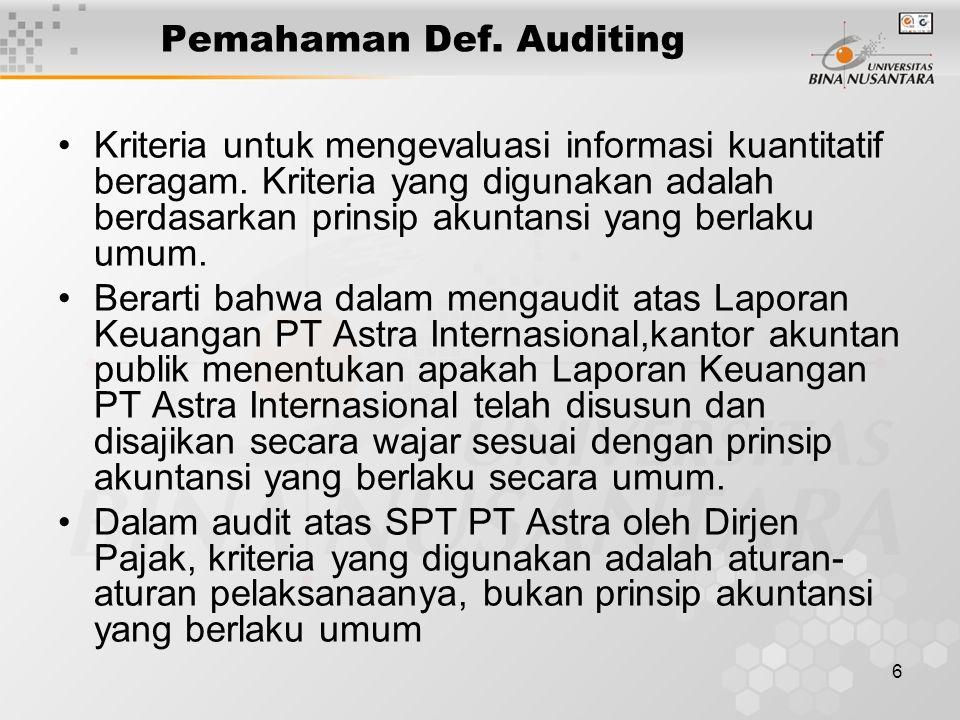 6 Pemahaman Def. Auditing Kriteria untuk mengevaluasi informasi kuantitatif beragam. Kriteria yang digunakan adalah berdasarkan prinsip akuntansi yang