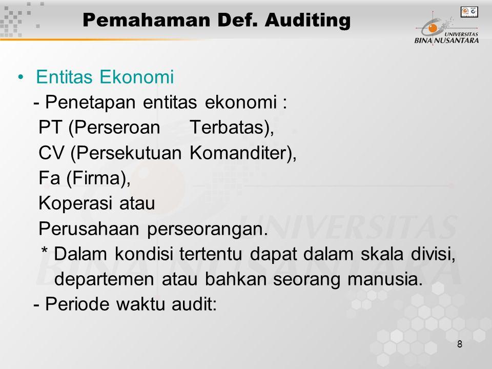 8 Pemahaman Def. Auditing Entitas Ekonomi - Penetapan entitas ekonomi : PT (Perseroan Terbatas), CV (Persekutuan Komanditer), Fa (Firma), Koperasi ata