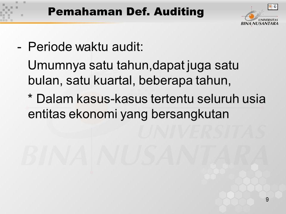 9 Pemahaman Def. Auditing -Periode waktu audit: Umumnya satu tahun,dapat juga satu bulan, satu kuartal, beberapa tahun, * Dalam kasus-kasus tertentu s