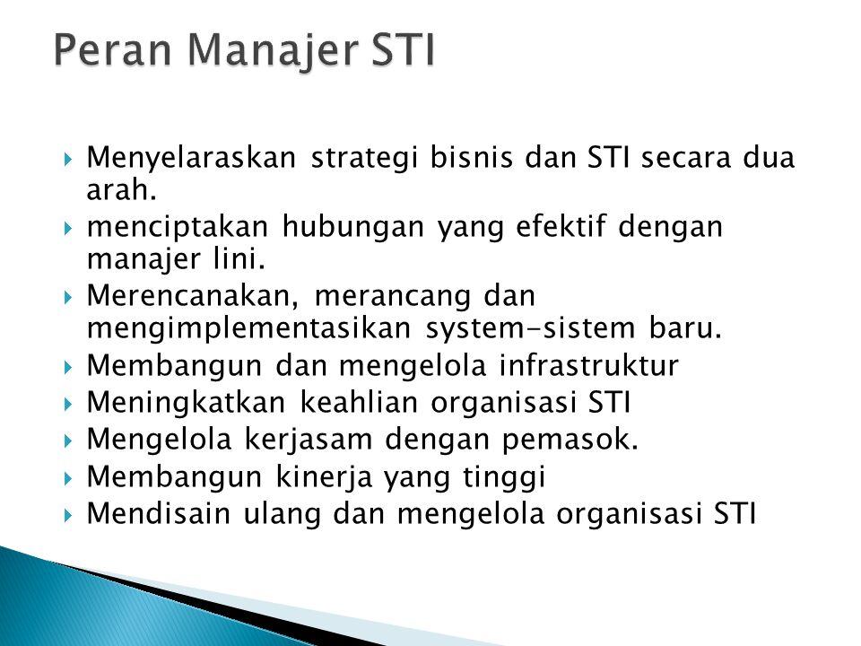  Menyelaraskan strategi bisnis dan STI secara dua arah.  menciptakan hubungan yang efektif dengan manajer lini.  Merencanakan, merancang dan mengim