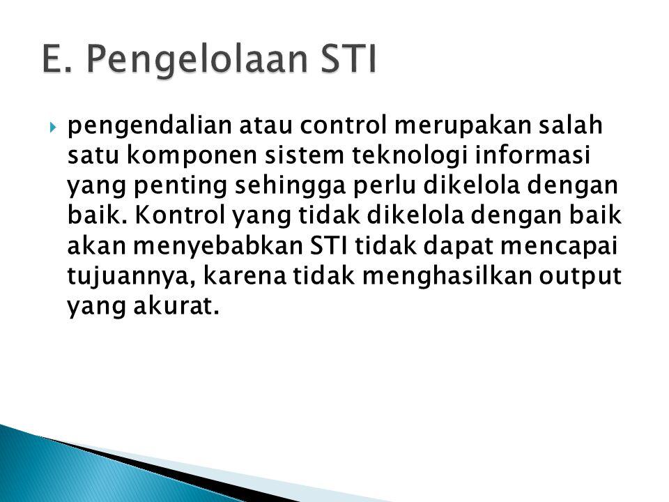  pengendalian atau control merupakan salah satu komponen sistem teknologi informasi yang penting sehingga perlu dikelola dengan baik. Kontrol yang ti