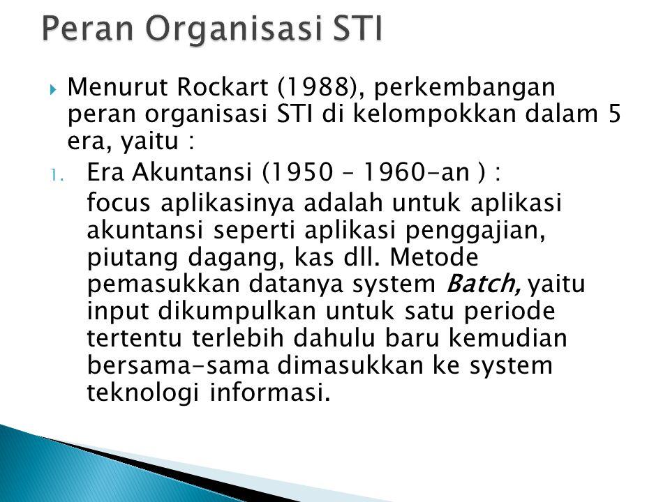  Menurut Rockart (1988), perkembangan peran organisasi STI di kelompokkan dalam 5 era, yaitu : 1. Era Akuntansi (1950 – 1960-an ) : focus aplikasinya