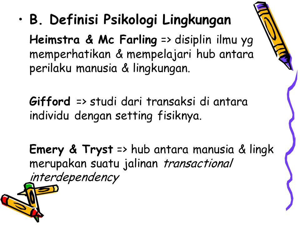 B. Definisi Psikologi Lingkungan Heimstra & Mc Farling => disiplin ilmu yg memperhatikan & mempelajari hub antara perilaku manusia & lingkungan. Giffo