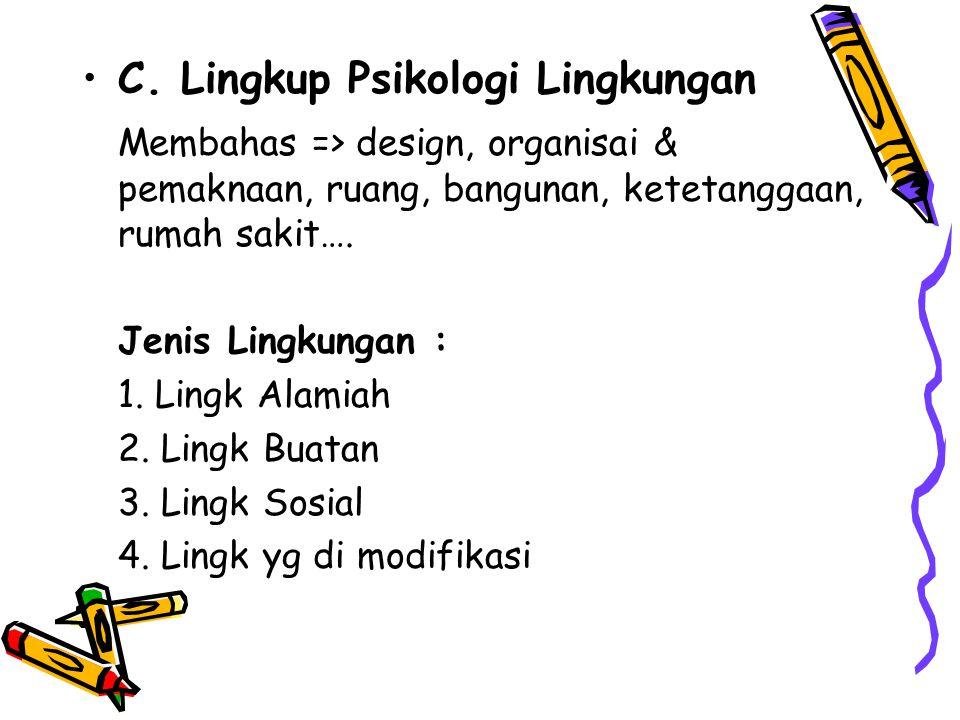 C. Lingkup Psikologi Lingkungan Membahas => design, organisai & pemaknaan, ruang, bangunan, ketetanggaan, rumah sakit…. Jenis Lingkungan : 1. Lingk Al