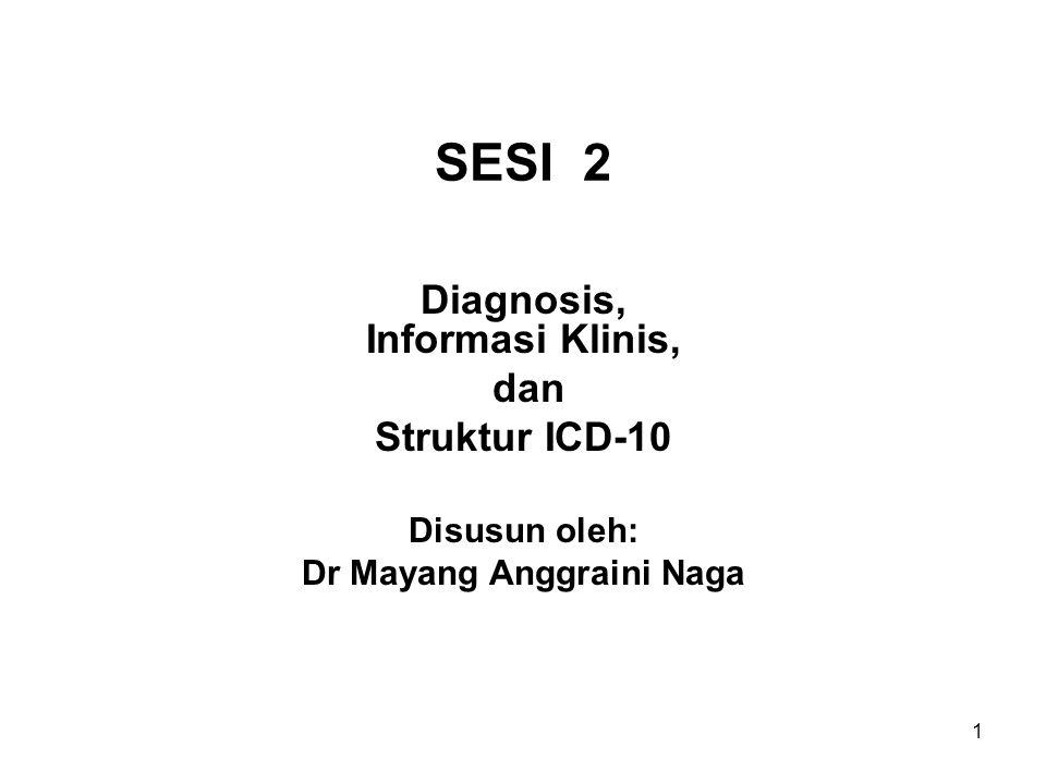 1 SESI 2 Diagnosis, Informasi Klinis, dan Struktur ICD-10 Disusun oleh: Dr Mayang Anggraini Naga