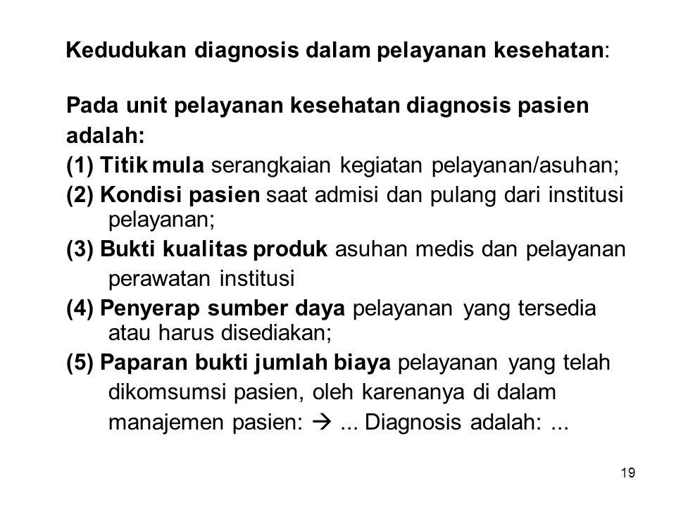 19 Kedudukan diagnosis dalam pelayanan kesehatan: Pada unit pelayanan kesehatan diagnosis pasien adalah: (1) Titik mula serangkaian kegiatan pelayanan