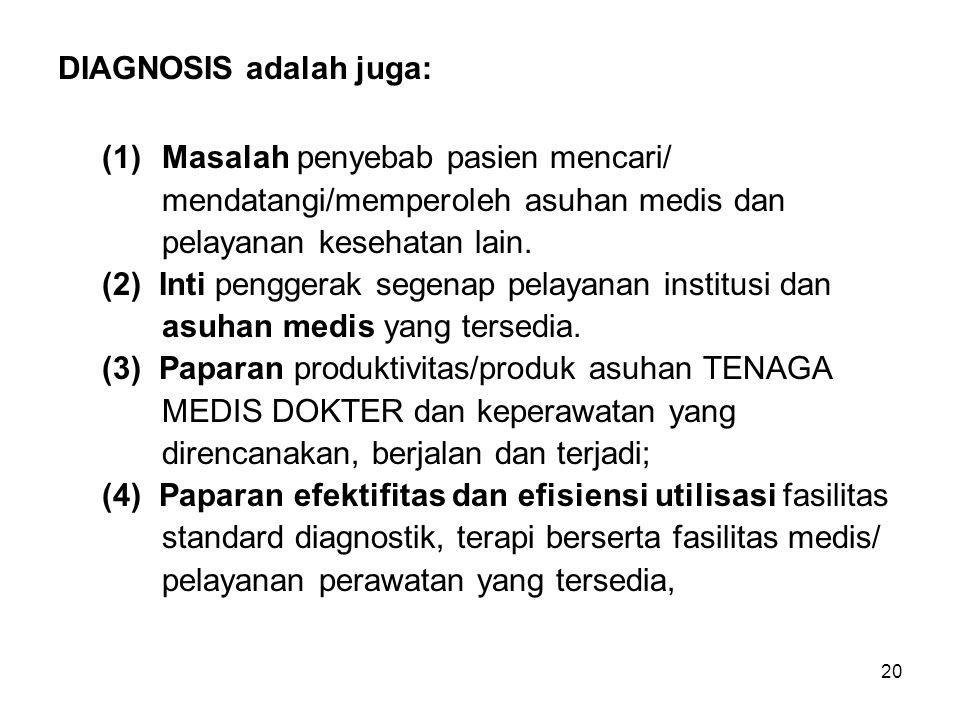 20 DIAGNOSIS adalah juga: (1) Masalah penyebab pasien mencari/ mendatangi/memperoleh asuhan medis dan pelayanan kesehatan lain. (2) Inti penggerak seg