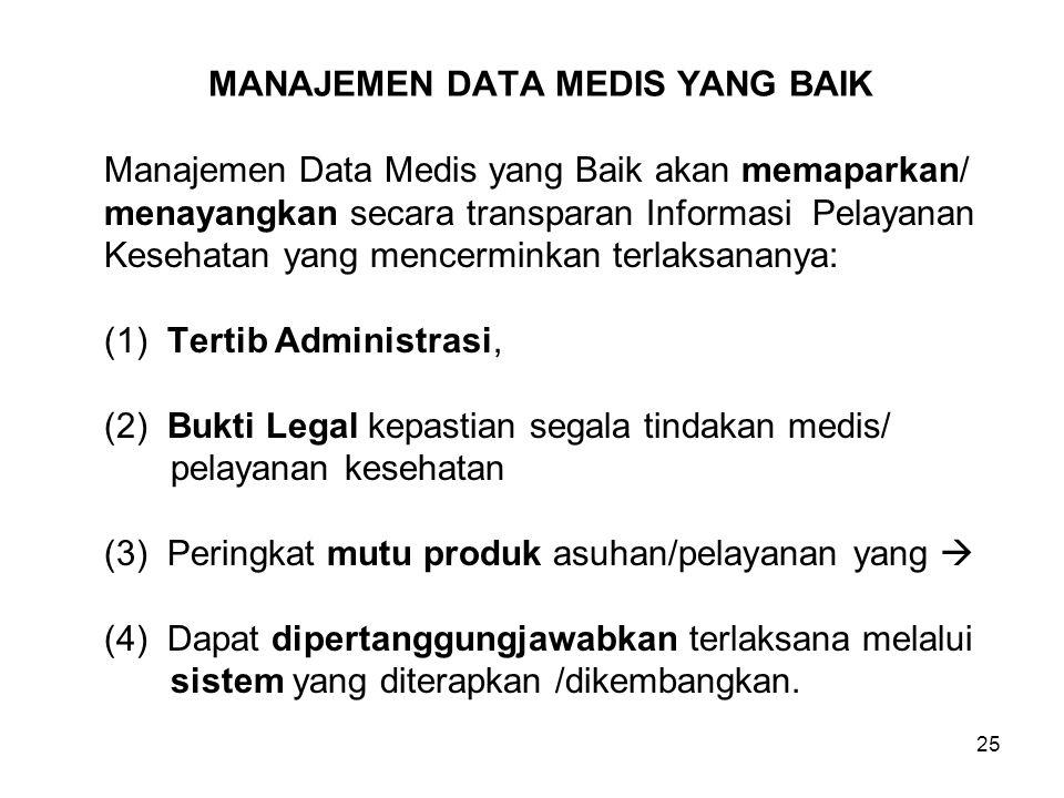 25 MANAJEMEN DATA MEDIS YANG BAIK Manajemen Data Medis yang Baik akan memaparkan/ menayangkan secara transparan Informasi Pelayanan Kesehatan yang men