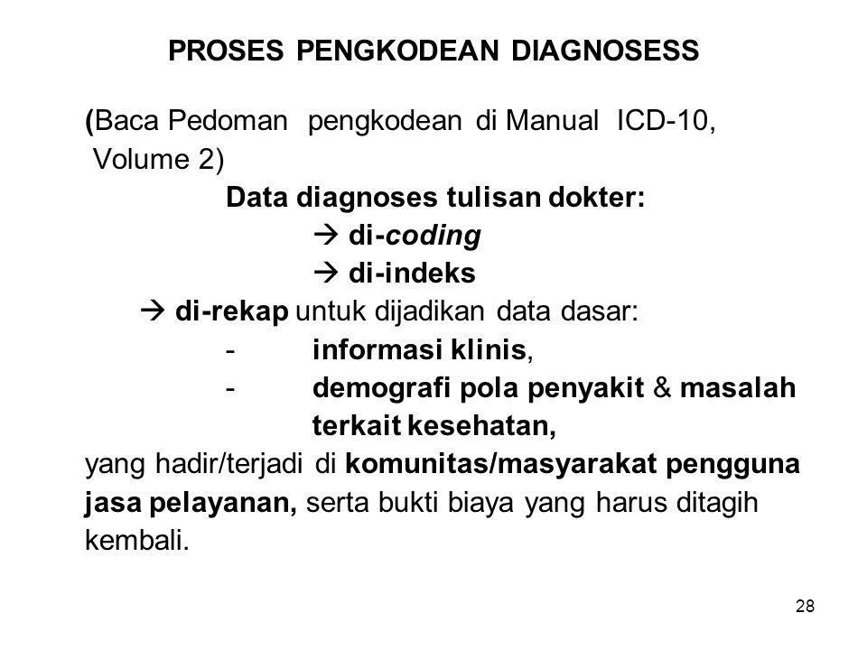 28 PROSES PENGKODEAN DIAGNOSESS (Baca Pedoman pengkodean di Manual ICD-10, Volume 2) Data diagnoses tulisan dokter:  di-coding  di-indeks  di-rekap
