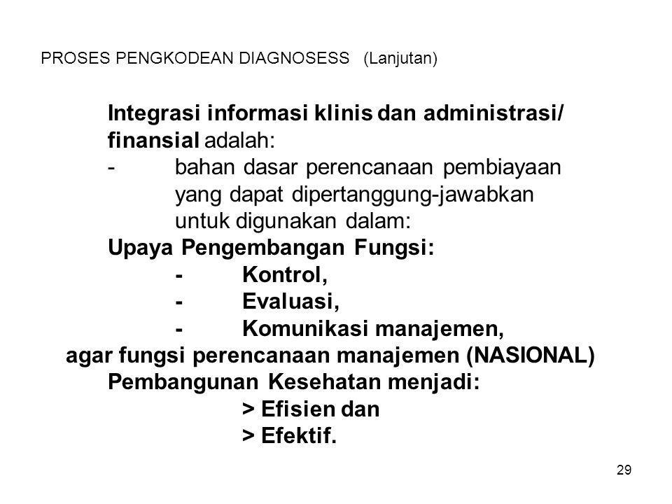 29 PROSES PENGKODEAN DIAGNOSESS (Lanjutan) Integrasi informasi klinis dan administrasi/ finansial adalah: -bahan dasar perencanaan pembiayaan yang dap