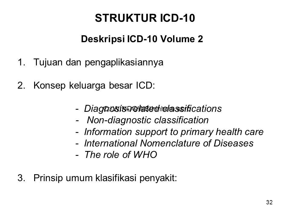 32 STRUKTUR ICD-10 Deskripsi ICD-10 Volume 2 1. Tujuan dan pengaplikasiannya 2. Konsep keluarga besar ICD: - Diagnosis-related classifications - Non-d