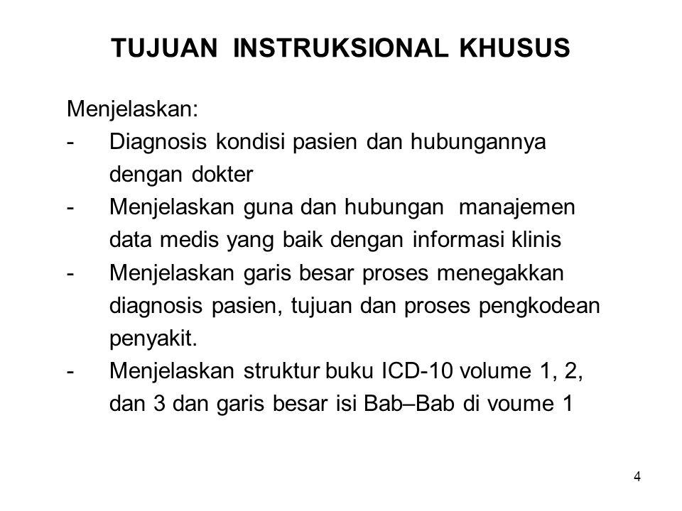 4 TUJUAN INSTRUKSIONAL KHUSUS Menjelaskan: -Diagnosis kondisi pasien dan hubungannya dengan dokter -Menjelaskan guna dan hubungan manajemen data medis