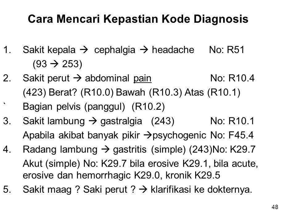48 Cara Mencari Kepastian Kode Diagnosis 1.Sakit kepala  cephalgia  headache No: R51 (93  253) 2.Sakit perut  abdominal painNo: R10.4 (423) Berat?