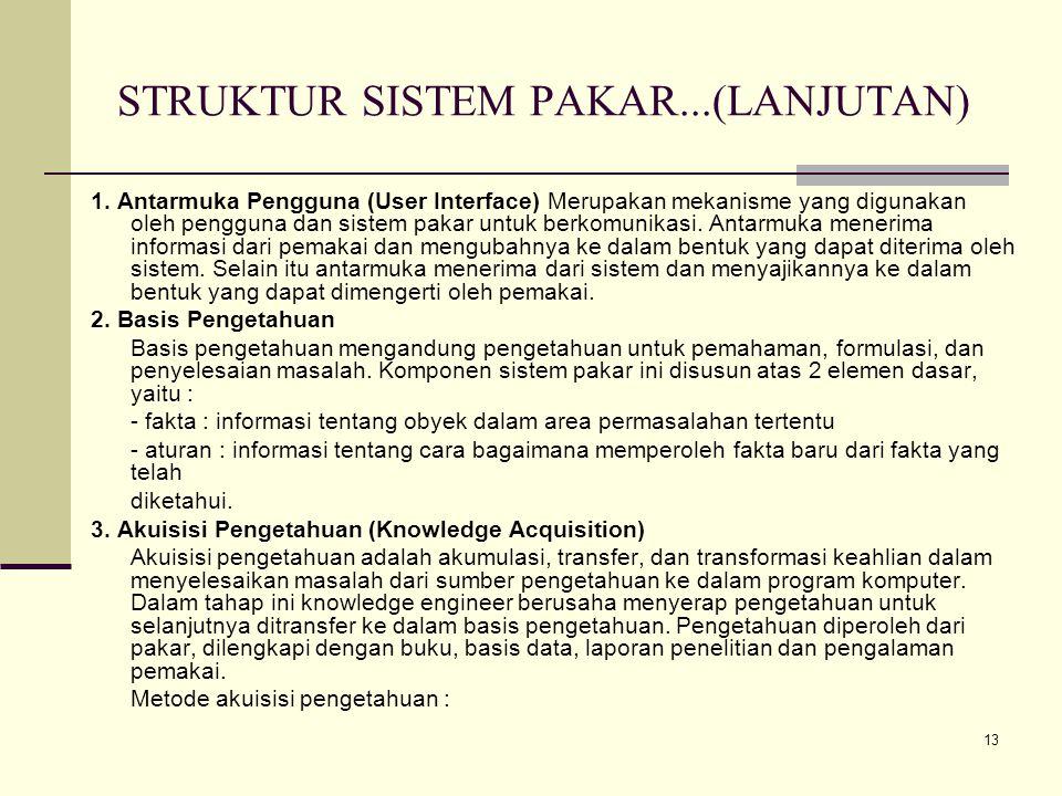 13 STRUKTUR SISTEM PAKAR...(LANJUTAN) 1. Antarmuka Pengguna (User Interface) Merupakan mekanisme yang digunakan oleh pengguna dan sistem pakar untuk b