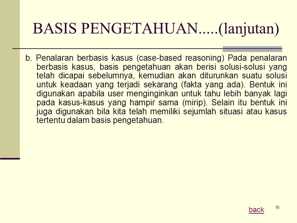 16 BASIS PENGETAHUAN.....(lanjutan) b. Penalaran berbasis kasus (case-based reasoning) Pada penalaran berbasis kasus, basis pengetahuan akan berisi so