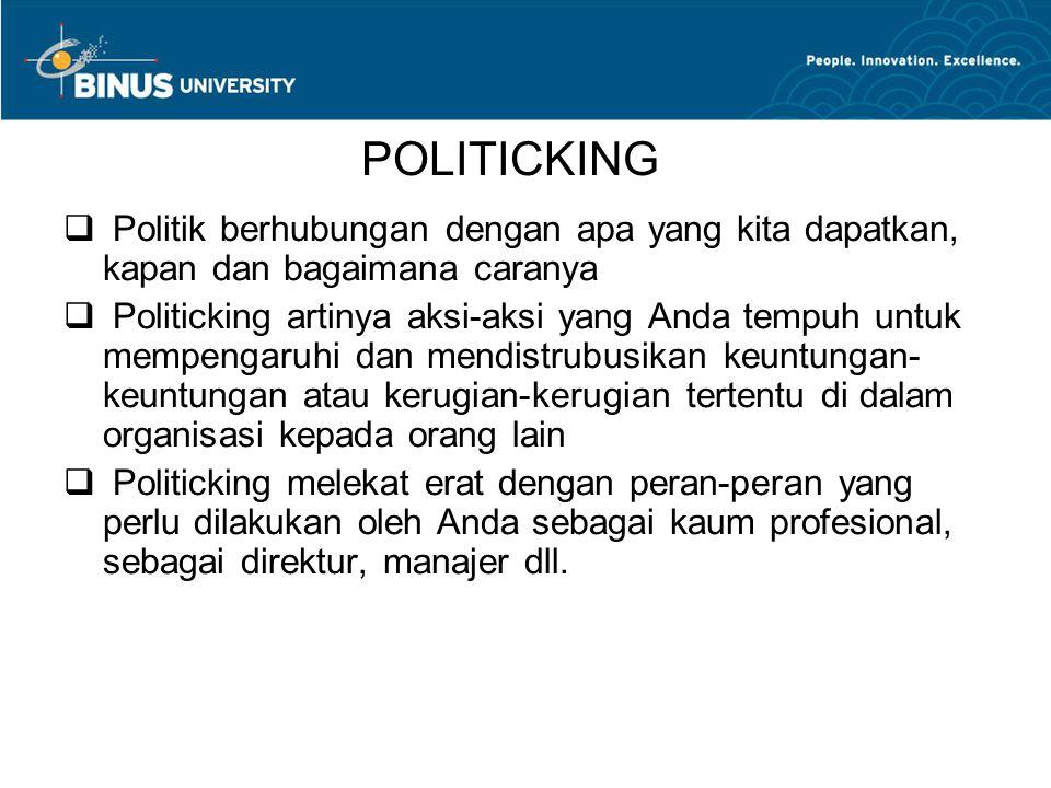 POLITICKING  Politik berhubungan dengan apa yang kita dapatkan, kapan dan bagaimana caranya  Politicking artinya aksi-aksi yang Anda tempuh untuk me