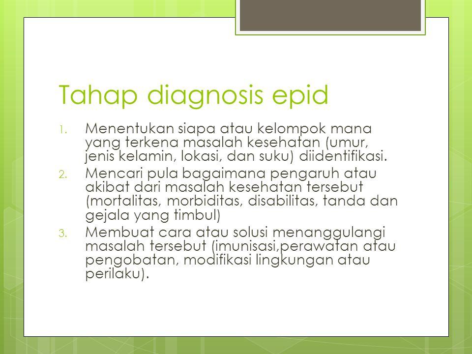 Tahap diagnosis epid 1. Menentukan siapa atau kelompok mana yang terkena masalah kesehatan (umur, jenis kelamin, lokasi, dan suku) diidentifikasi. 2.