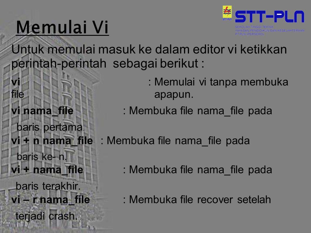 Memulai Vi Untuk memulai masuk ke dalam editor vi ketikkan perintah-perintah sebagai berikut : vi : Memulai vi tanpa membuka file apapun. vi nama_file