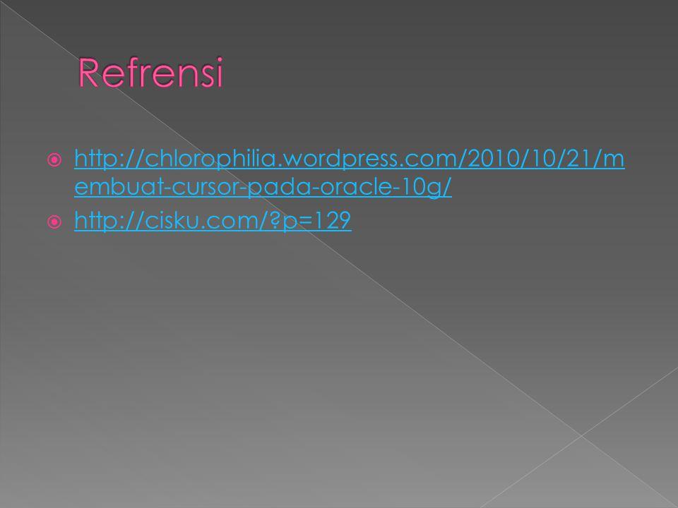  http://chlorophilia.wordpress.com/2010/10/21/m embuat-cursor-pada-oracle-10g/ http://chlorophilia.wordpress.com/2010/10/21/m embuat-cursor-pada-orac