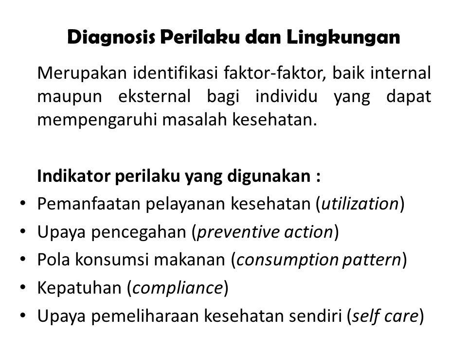 Diagnosis Perilaku dan Lingkungan Merupakan identifikasi faktor-faktor, baik internal maupun eksternal bagi individu yang dapat mempengaruhi masalah k