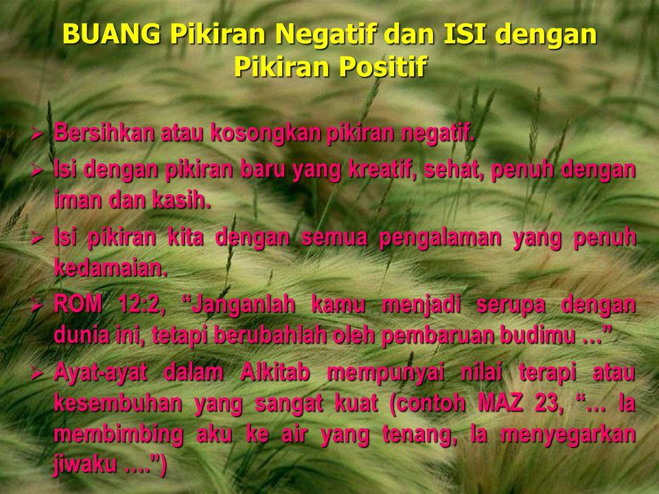 Andrianto Widjajawww.gunardisaputra.com/gm BUANG Pikiran Negatif dan ISI dengan Pikiran Positif  Bersihkan atau kosongkan pikiran negatif.  Isi deng