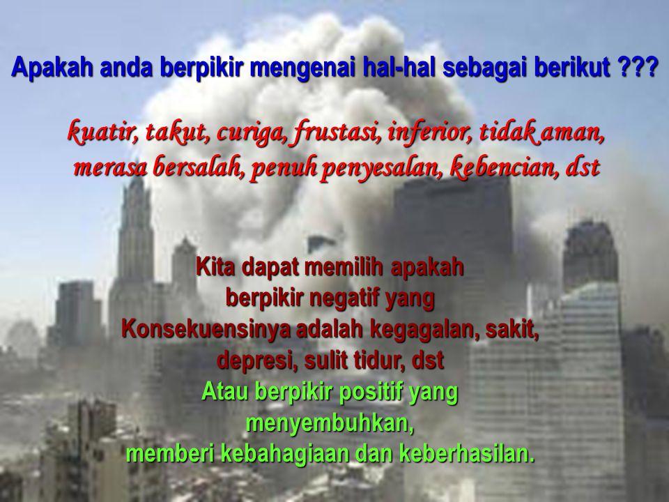 Andrianto Widjajawww.gunardisaputra.com/gm Apakah anda berpikir mengenai hal-hal sebagai berikut ??? kuatir, takut, curiga, frustasi, inferior, tidak