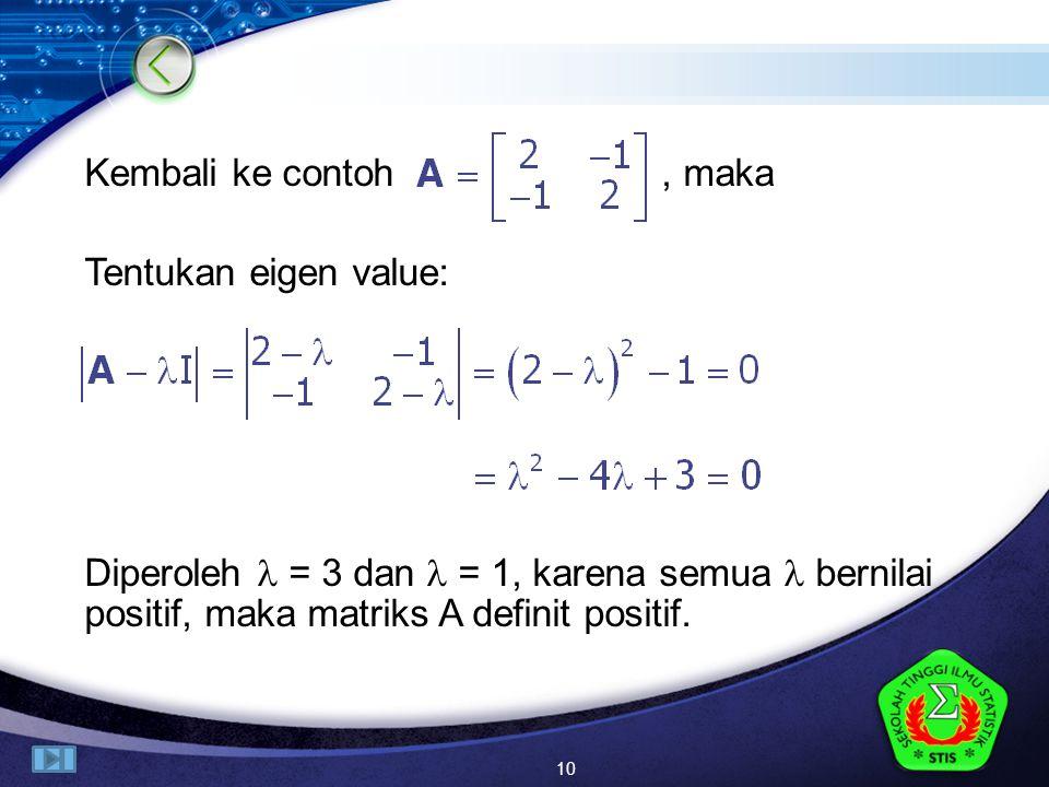 LOGO Kembali ke contoh, maka Tentukan eigen value: Diperoleh = 3 dan = 1, karena semua bernilai positif, maka matriks A definit positif.