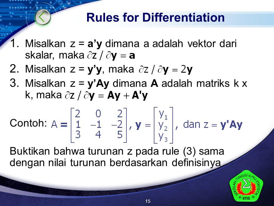 LOGO 1. Misalkan z = a'y dimana a adalah vektor dari skalar, maka 2.