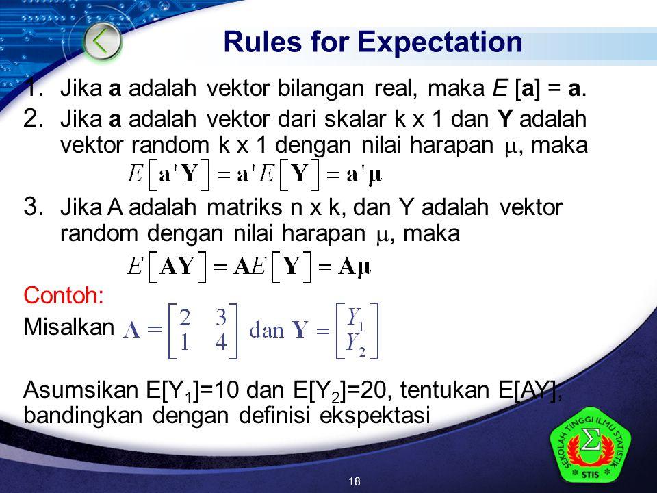 LOGO 1. Jika a adalah vektor bilangan real, maka E [a] = a.