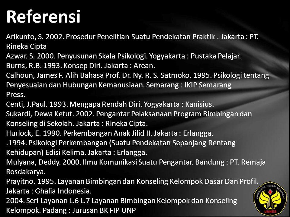 Referensi Arikunto, S. 2002. Prosedur Penelitian Suatu Pendekatan Praktik. Jakarta : PT. Rineka Cipta Azwar. S. 2000. Penyusunan Skala Psikologi. Yogy