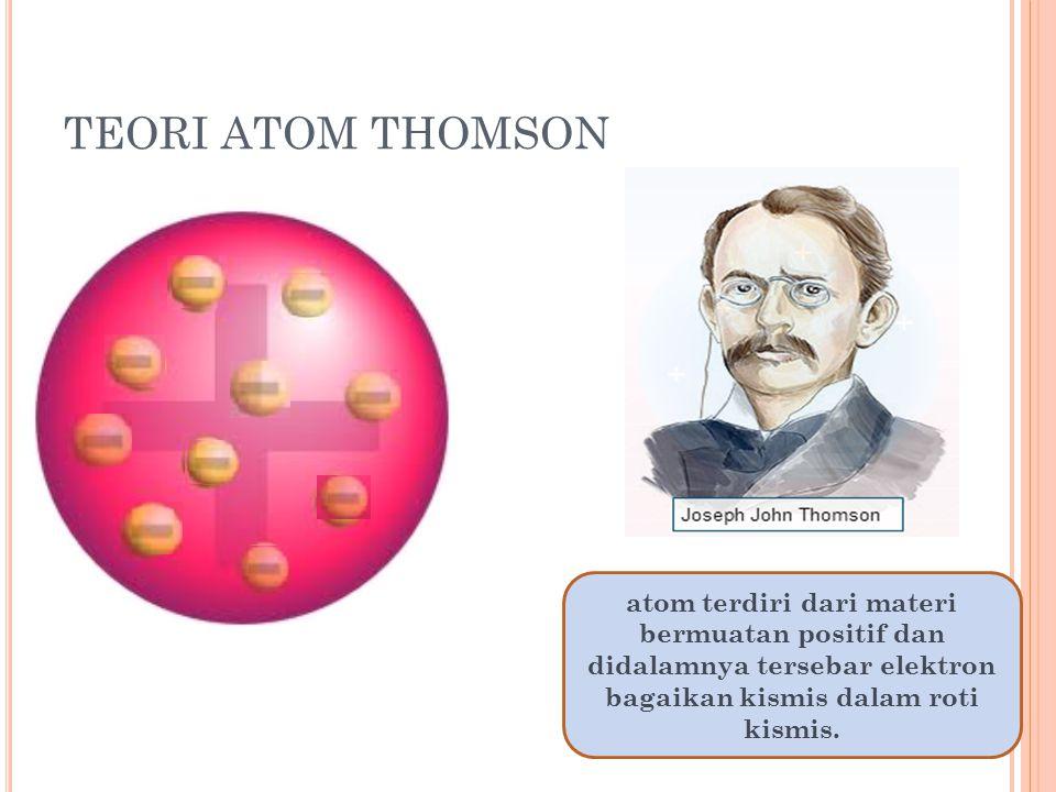 TEORI ATOM THOMSON atom terdiri dari materi bermuatan positif dan didalamnya tersebar elektron bagaikan kismis dalam roti kismis.