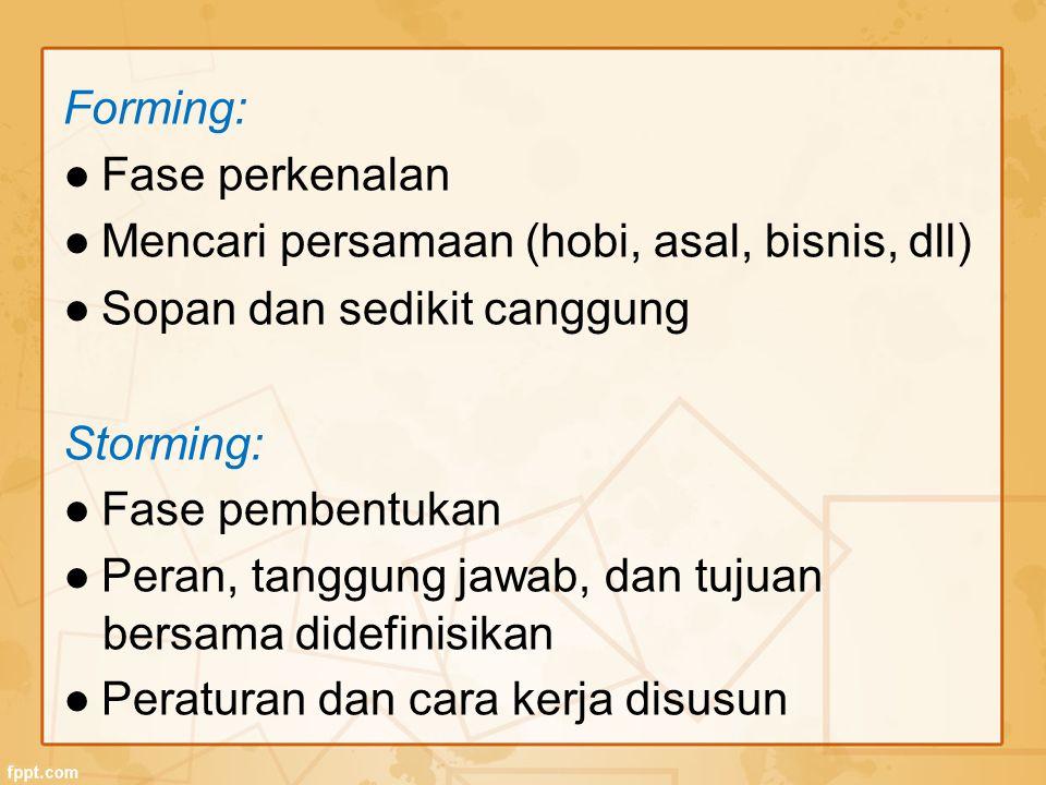 Forming: ● Fase perkenalan ● Mencari persamaan (hobi, asal, bisnis, dll) ● Sopan dan sedikit canggung Storming: ● Fase pembentukan ● Peran, tanggung j