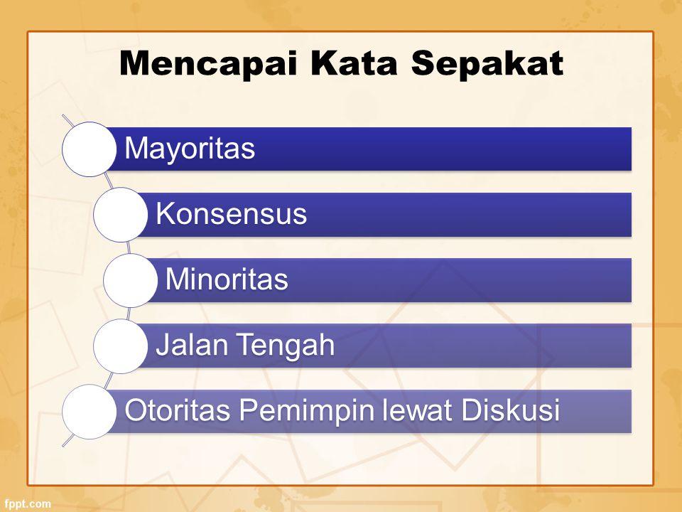 Mencapai Kata Sepakat Mayoritas Konsensus Minoritas Jalan Tengah Otoritas Pemimpin lewat Diskusi