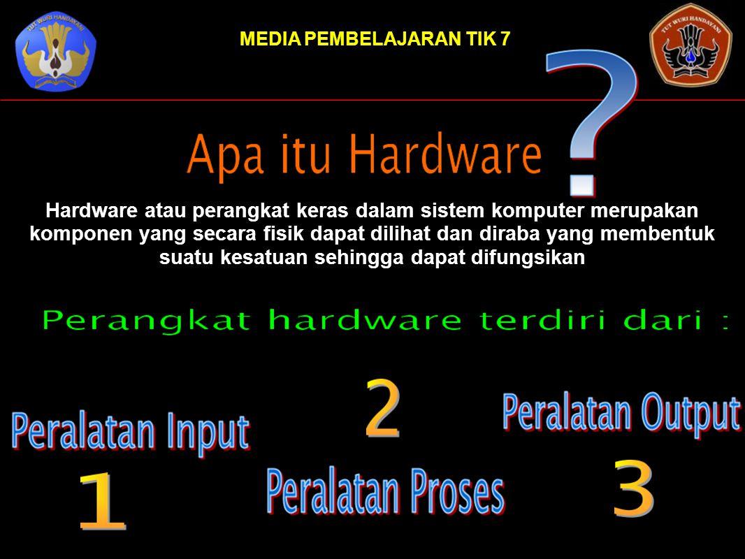 Hardware atau perangkat keras dalam sistem komputer merupakan komponen yang secara fisik dapat dilihat dan diraba yang membentuk suatu kesatuan sehing