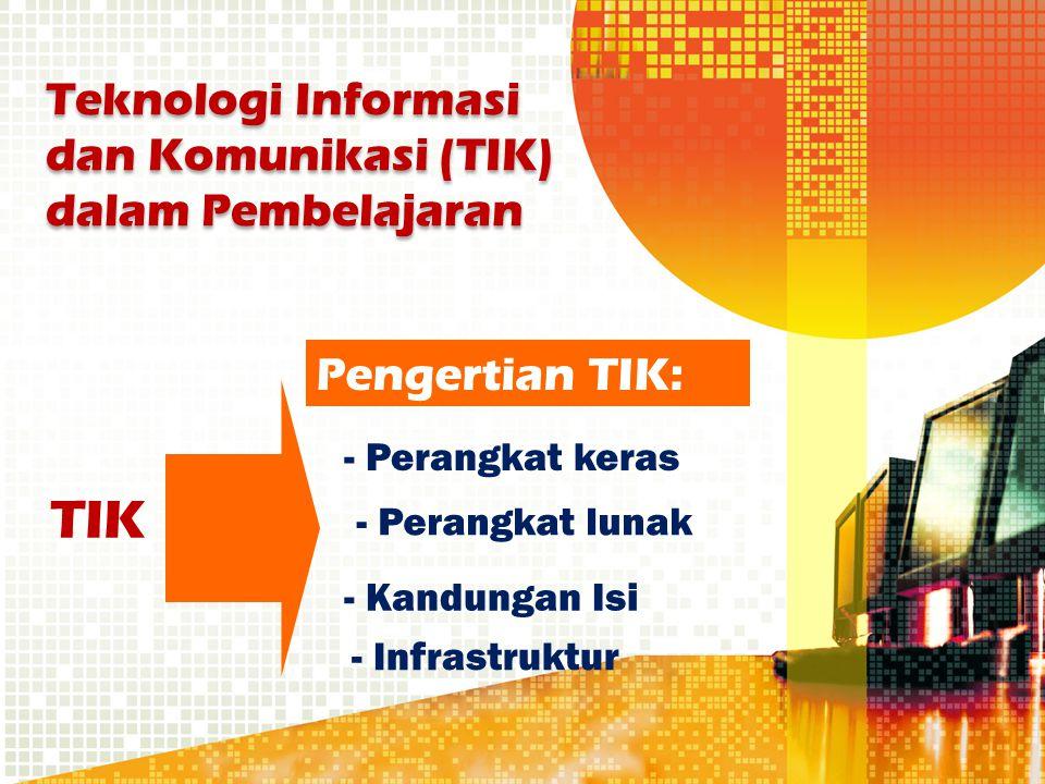 TIK - Perangkat keras - Kandungan Isi - Perangkat lunak - Infrastruktur Pengertian TIK: Teknologi Informasi dan Komunikasi (TIK) dalam Pembelajaran
