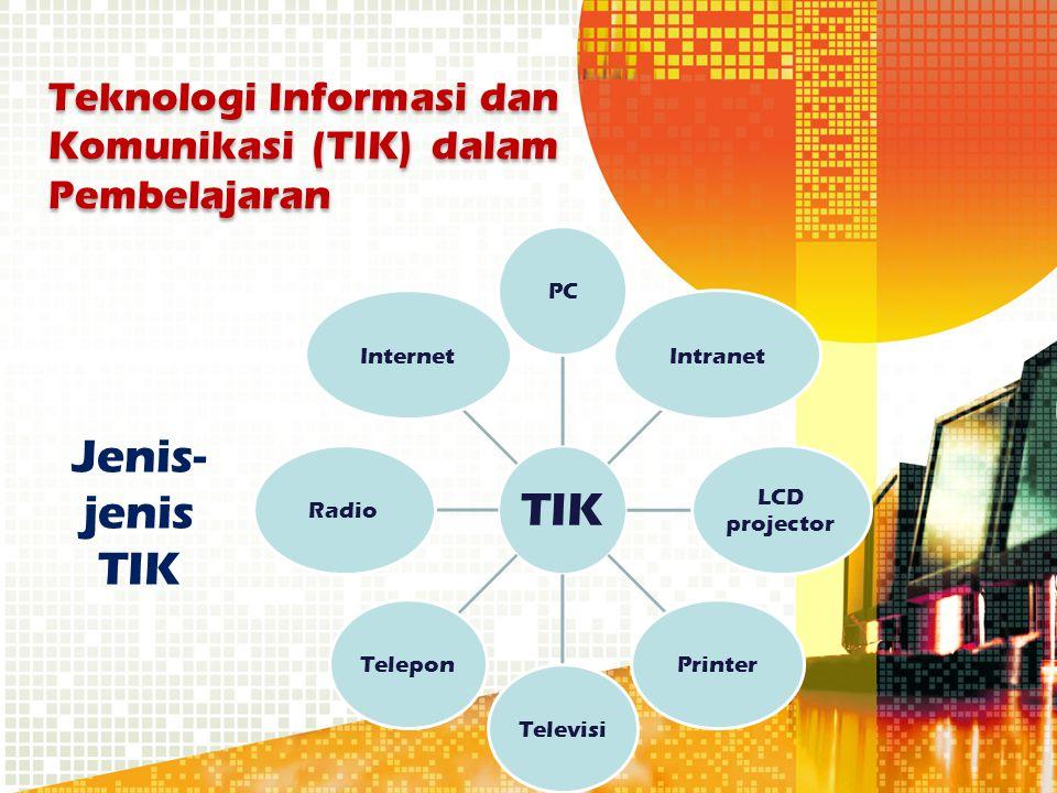 Jenis- jenis TIK TIK PCIntranet LCD projector PrinterTelevisiTeleponRadioInternet Teknologi Informasi dan Komunikasi (TIK) dalam Pembelajaran