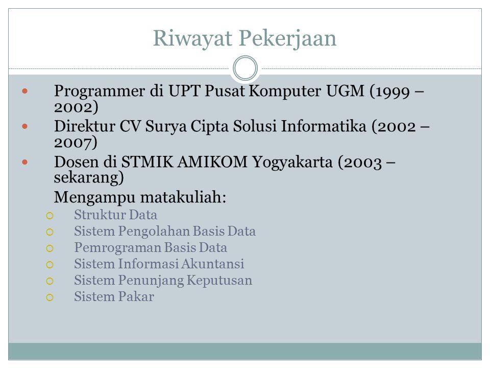 Riwayat Pekerjaan Programmer di UPT Pusat Komputer UGM (1999 – 2002) Direktur CV Surya Cipta Solusi Informatika (2002 – 2007) Dosen di STMIK AMIKOM Yo