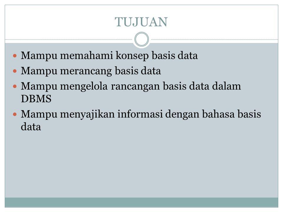 TUJUAN Mampu memahami konsep basis data Mampu merancang basis data Mampu mengelola rancangan basis data dalam DBMS Mampu menyajikan informasi dengan b