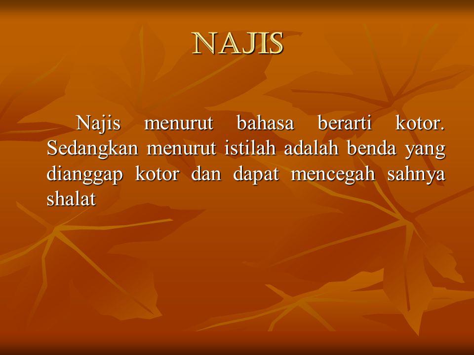 Najis Najis menurut bahasa berarti kotor. Sedangkan menurut istilah adalah benda yang dianggap kotor dan dapat mencegah sahnya shalat
