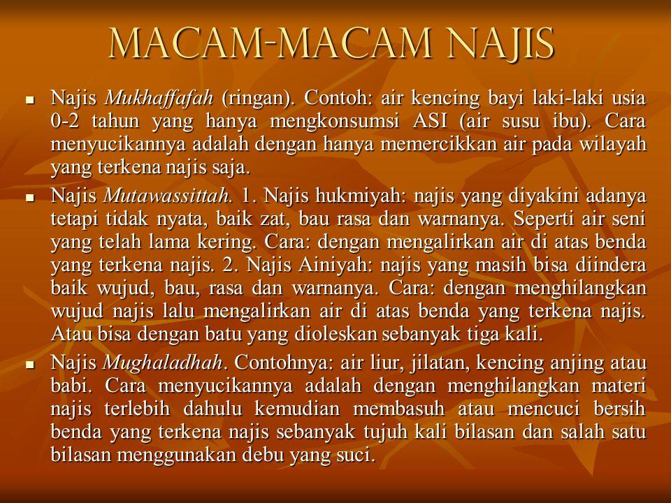 Macam-macam Najis Najis Mukhaffafah (ringan).