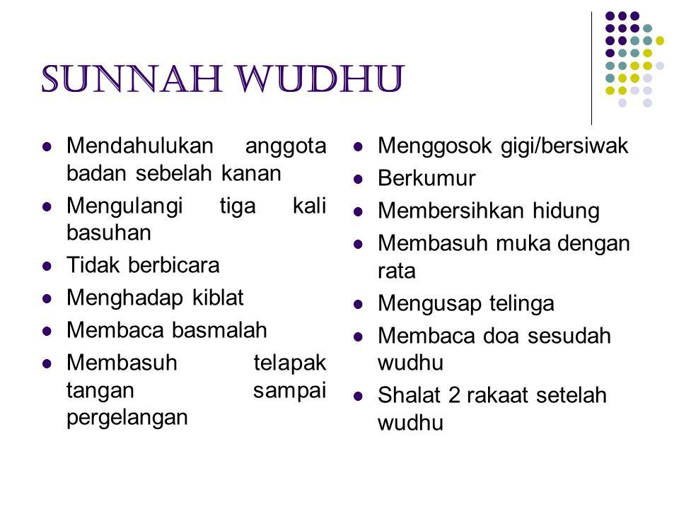 Sunnah wudhu Mendahulukan anggota badan sebelah kanan Mengulangi tiga kali basuhan Tidak berbicara Menghadap kiblat Membaca basmalah Membasuh telapak