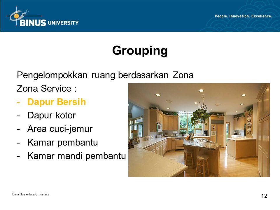 Pengelompokkan ruang berdasarkan Zona Zona Service : -Dapur Bersih -Dapur kotor -Area cuci-jemur -Kamar pembantu -Kamar mandi pembantu Bina Nusantara University 12 Grouping