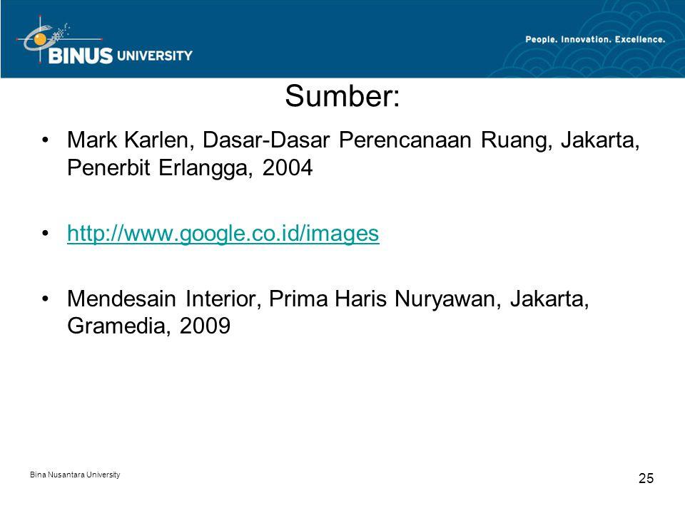 Sumber: Mark Karlen, Dasar-Dasar Perencanaan Ruang, Jakarta, Penerbit Erlangga, 2004 http://www.google.co.id/images Mendesain Interior, Prima Haris Nuryawan, Jakarta, Gramedia, 2009 Bina Nusantara University 25